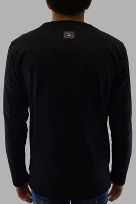 Philipp Plein black long sleeves t-shirt with white skull pearly effect