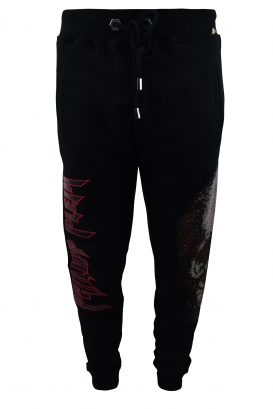 Philipp Plein black joggers with pink full strass skull on one leg and black varnished Philipp Plein writing with pink outlines