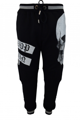 Philipp Plein black joggers with grey border on the waist, quilted biker style knees, white full strass skull on one leg