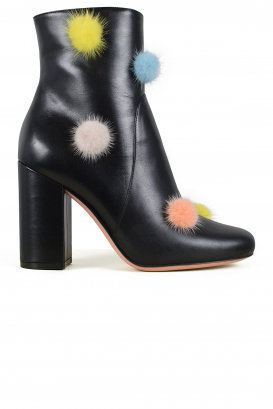 Fendi leather boots with pompoms