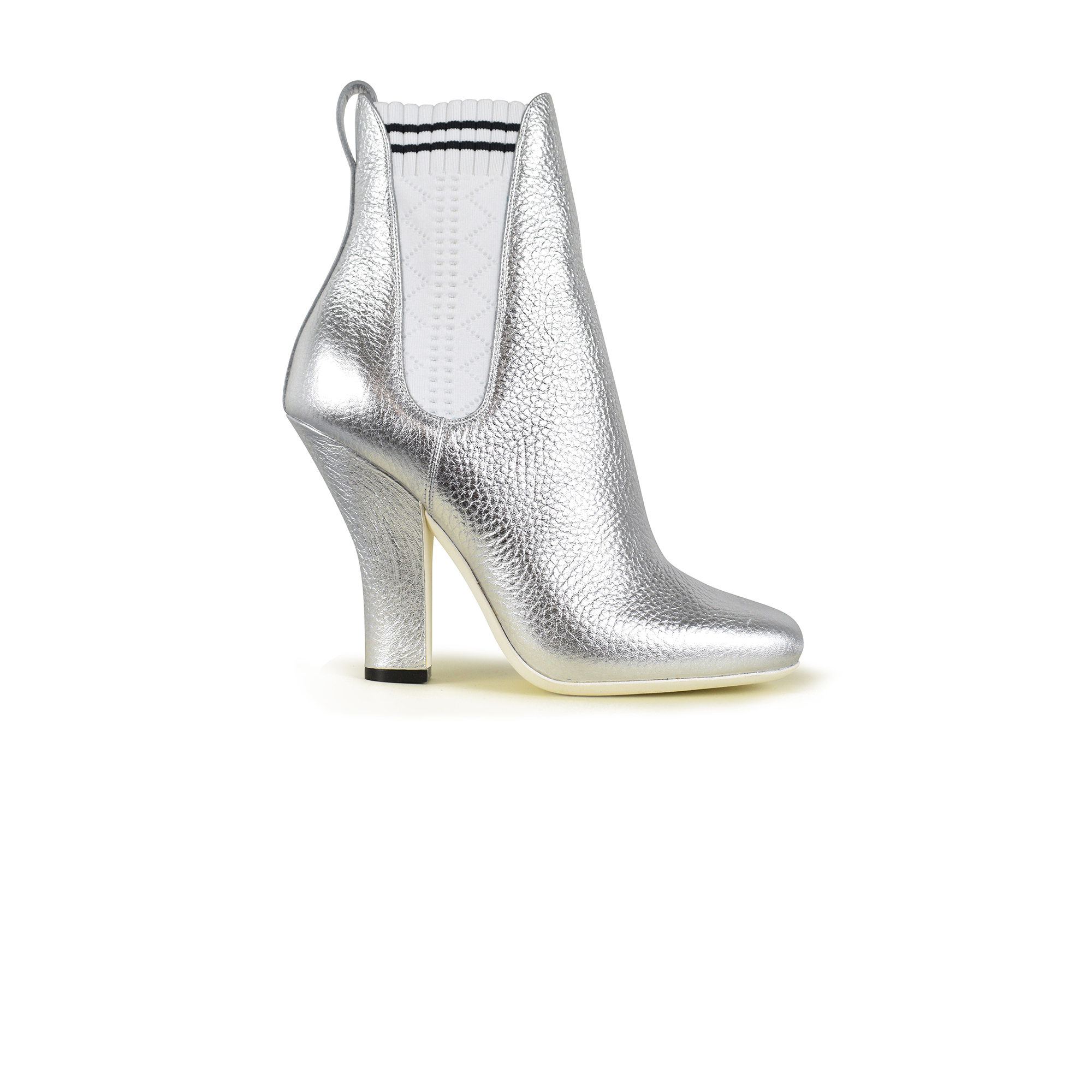 Fendi silver leather ankle boots