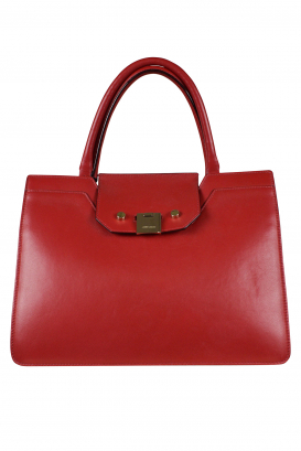 Jimmy Choo Riley handbag in soft red and pink leather.