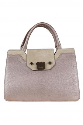 Jimmy Choo Medium Riley handbag in beige leather and suede.