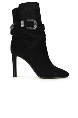 Bottines Mica Saint Laurent en daim noir.