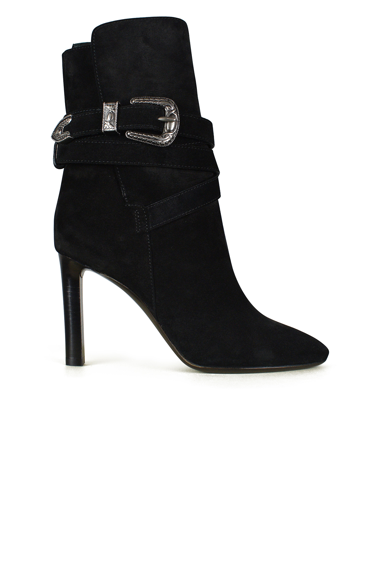 Saint Laurent Mica ankle boots in black suede.