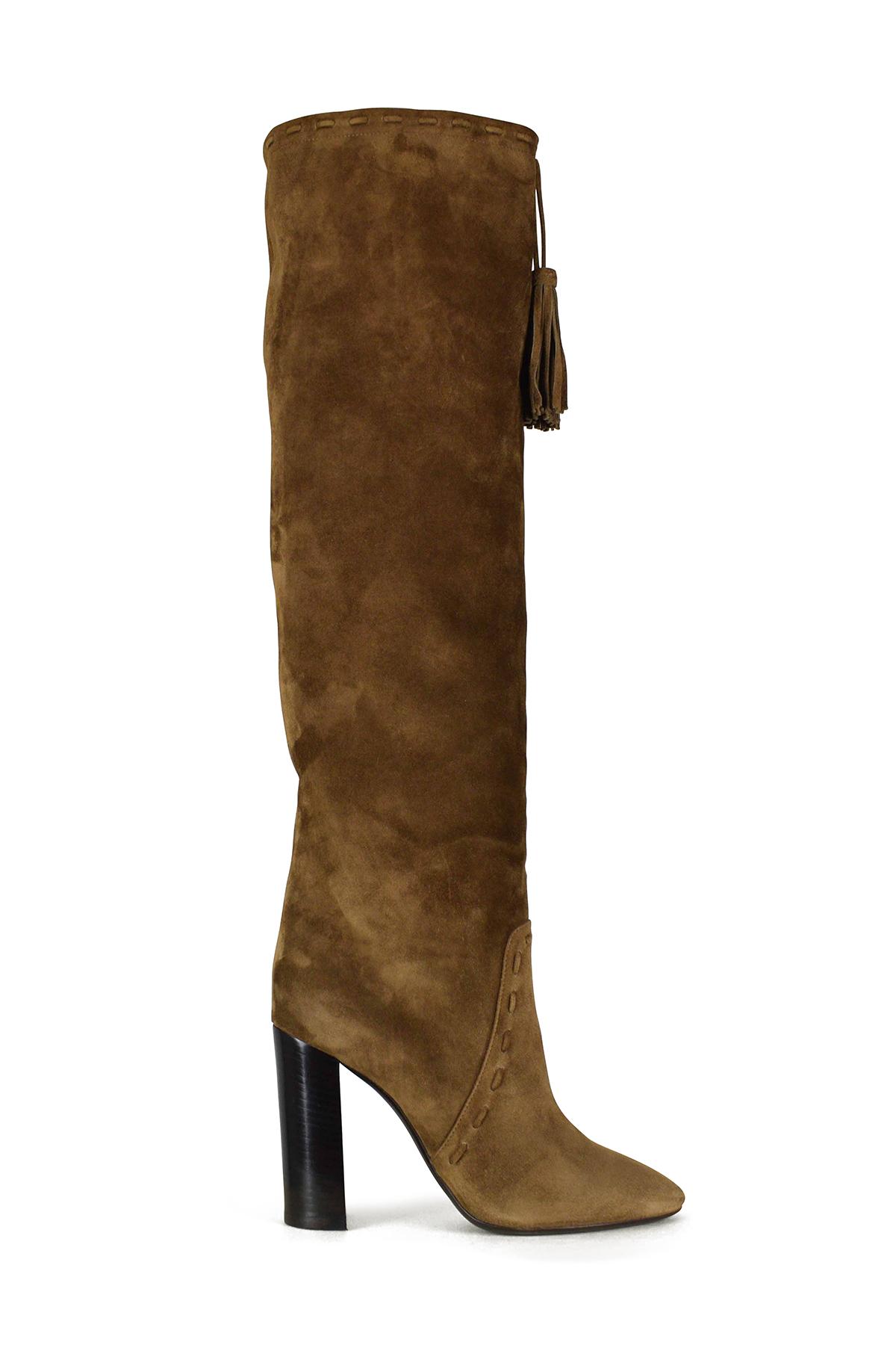 Saint Laurent Meurice over-the-knee boots in camel suede.