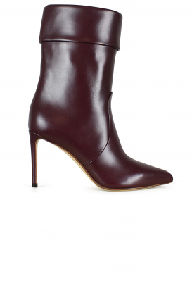 Francesco Russo cuffed ankle boots in burgundy leather.