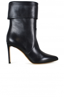 Black leather Francesco Russo ankle boots.