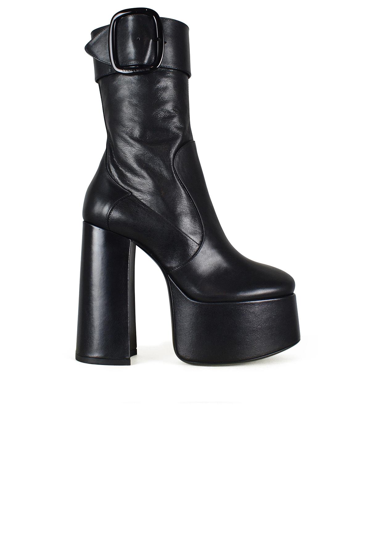 Billy Saint Laurent platform boots in black leather.