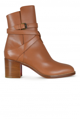 Karistrap 70 Louboutin boots in gold leather.