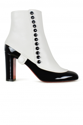 Joli Fifre 85 Louboutin ankle boots in black patent leather and white leather.