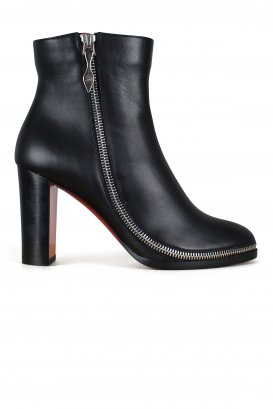 Telezip 85 Louboutin ankle boots in black calfskin.