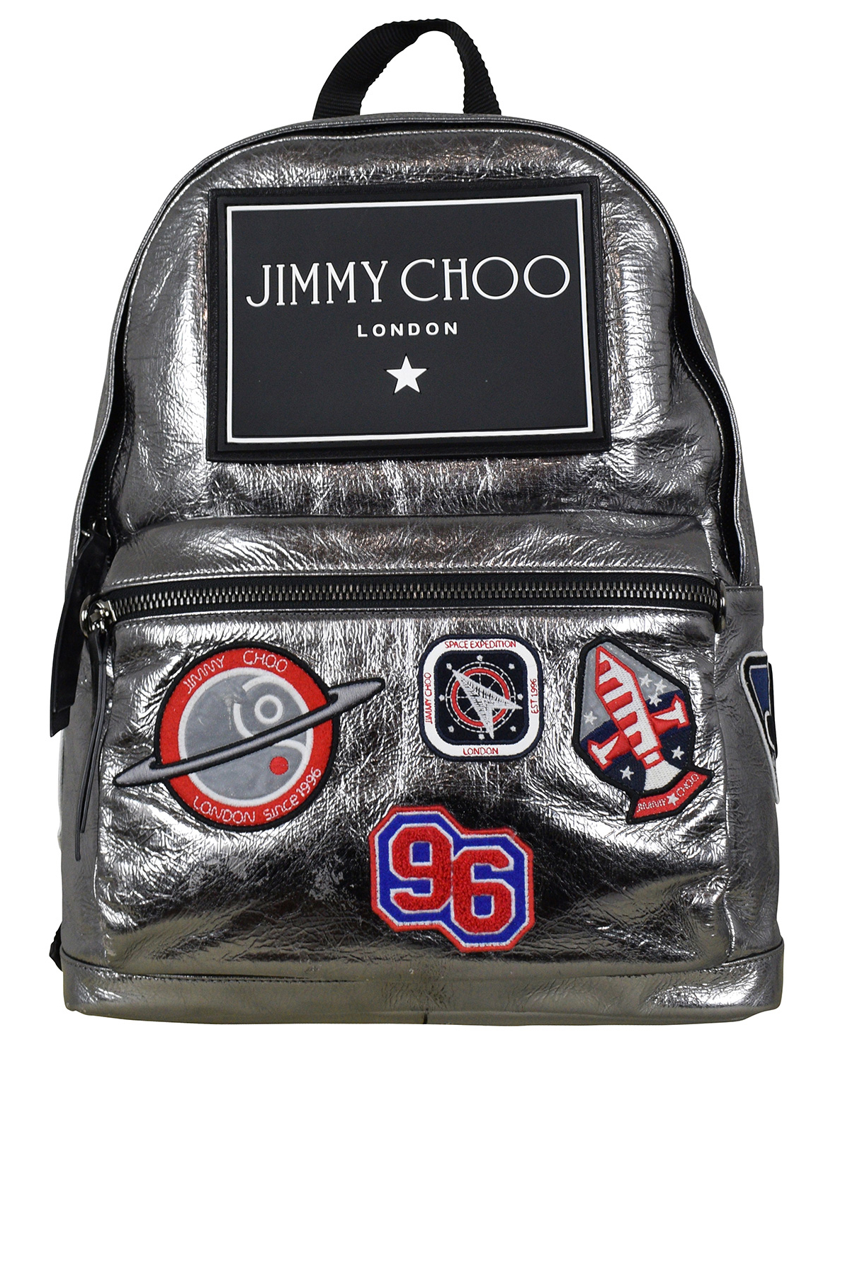 Jimmy Choo Backpack in silver leather with patches and logo
