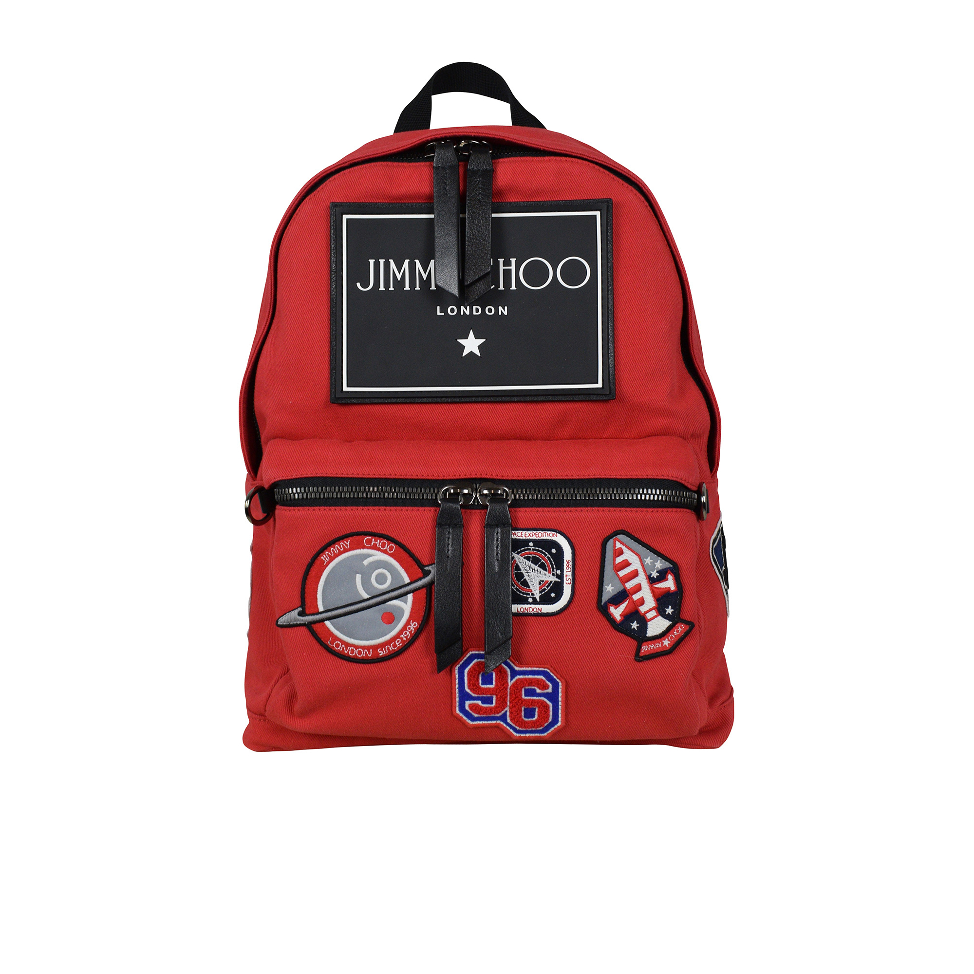 Jimmy Choo Backpack in red canvas with patches and logo