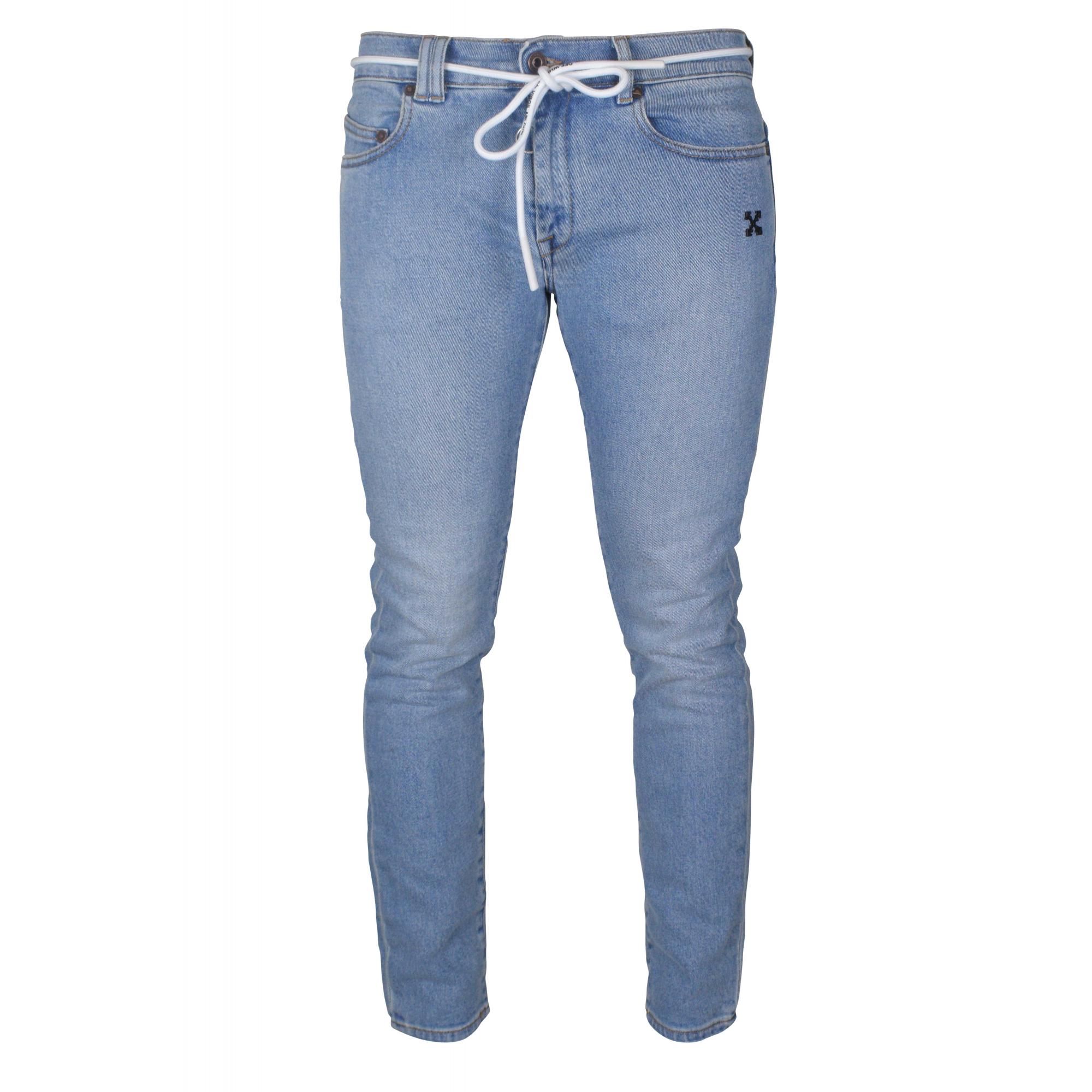 Blue Off-White slim jeans.