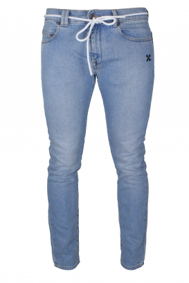 Blue Off-White slim jeans.