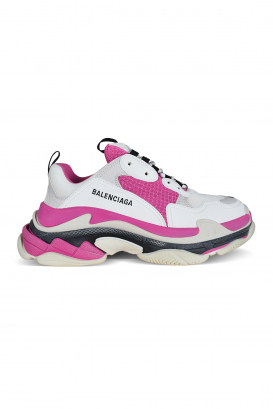 White, pink and gray Balenciaga Triple S sneakers.