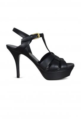 Saint Laurent Tribute sandals in black leather.