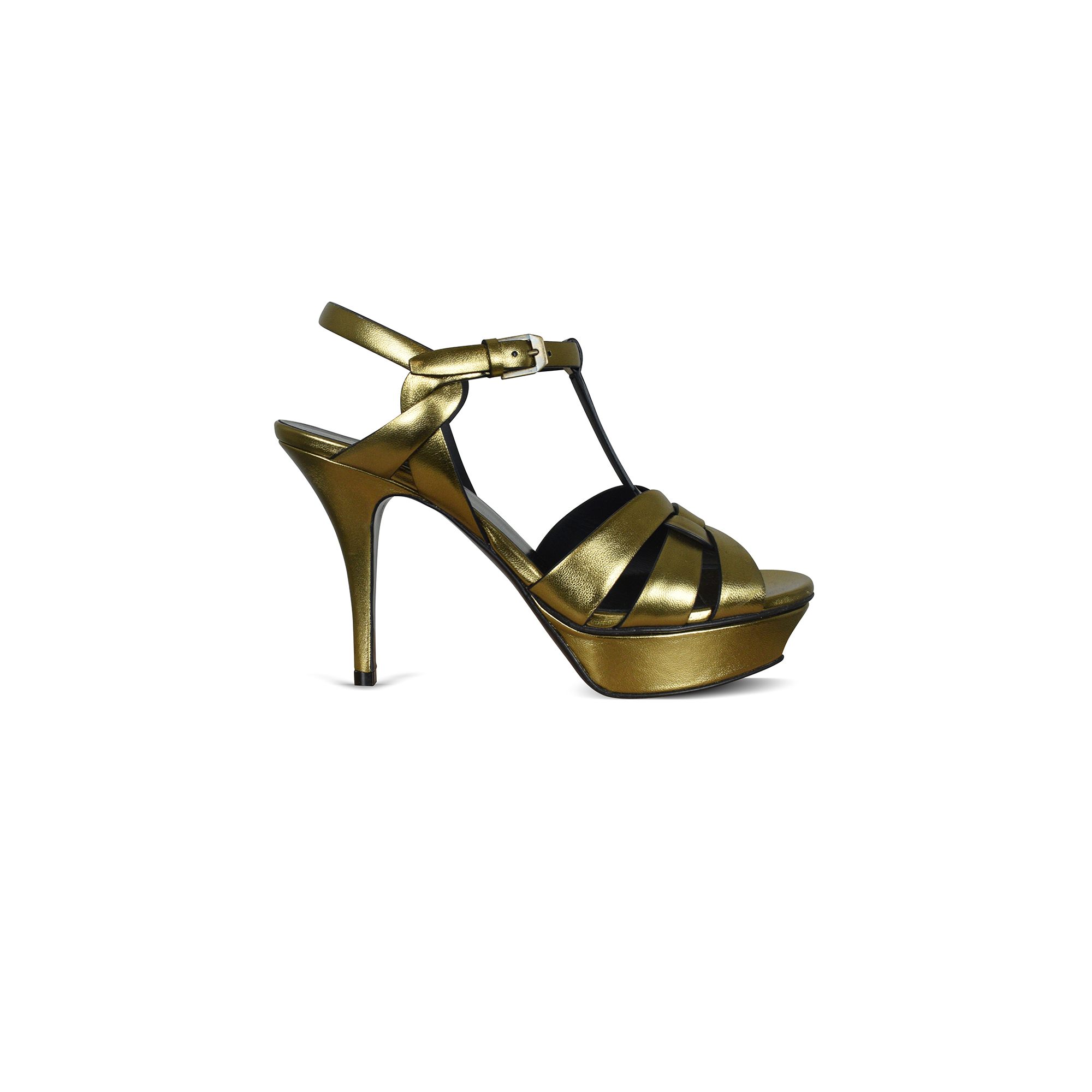 Tribute Saint Laurent sandals in gold metallic leather with black finishes.