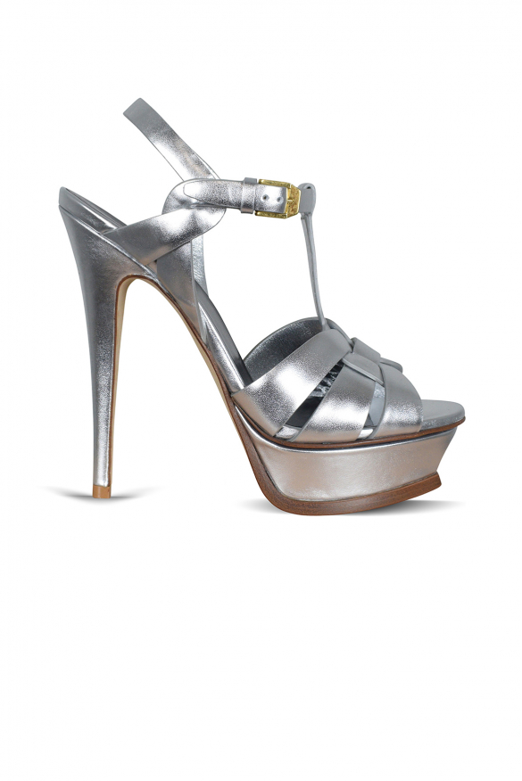 Tribute Saint Laurent sandals in silver metallic leather with brown finishes.