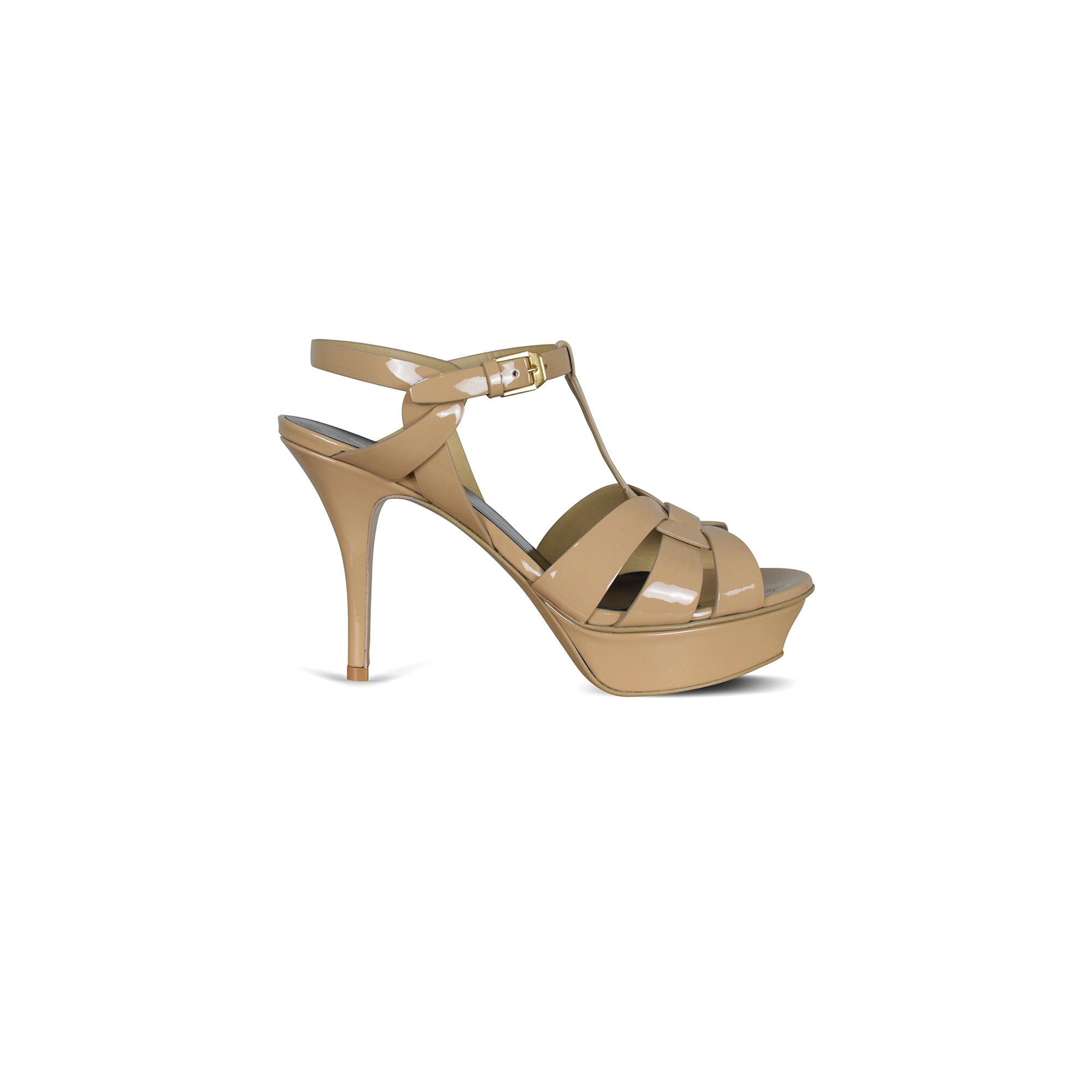 Tribute Saint Laurent sandals in nude patent leather.