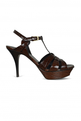 Tribute Saint Laurent sandals in shiny brown crocodile embossed leather.