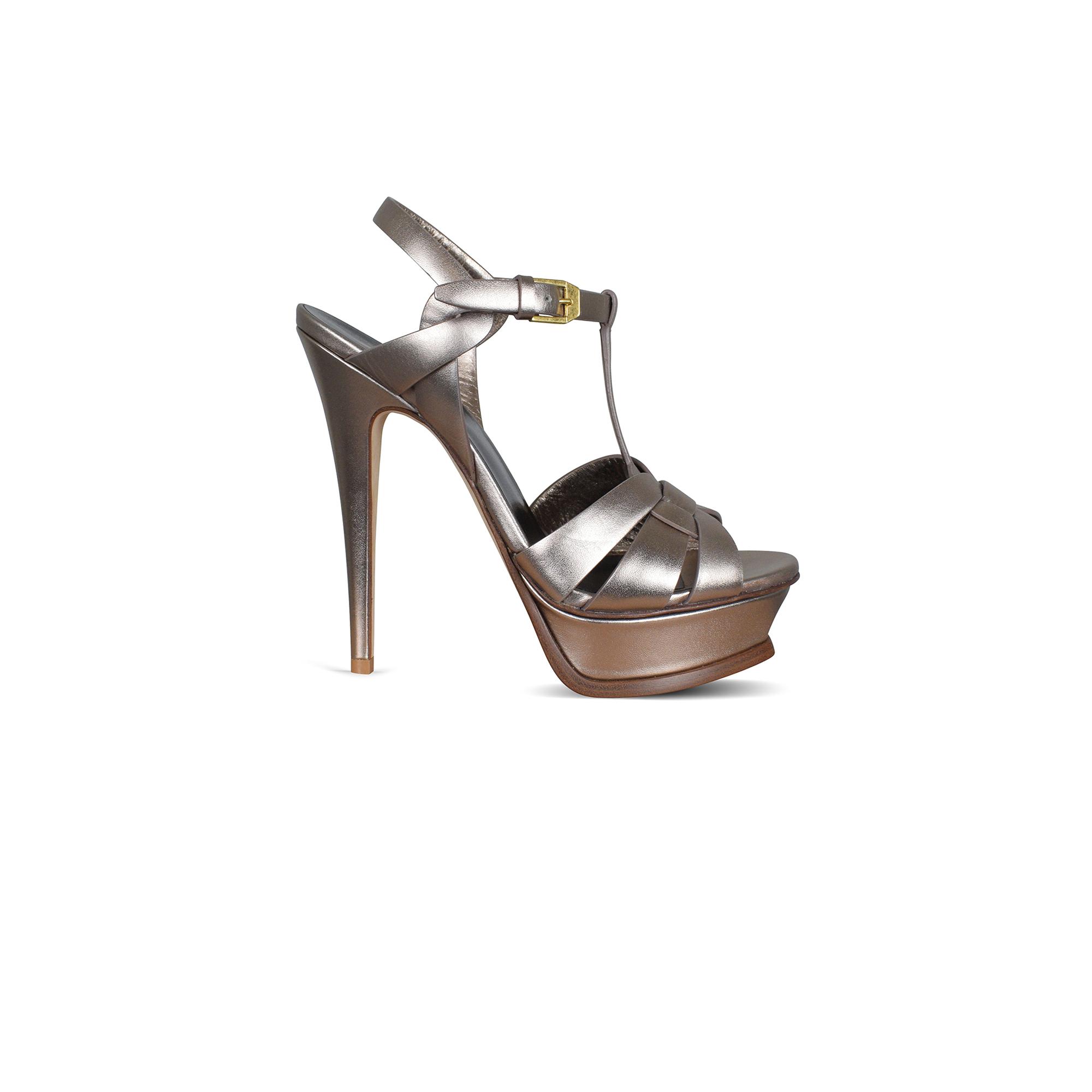 Tribute Saint Laurent sandals in copper-colored metallic leather.
