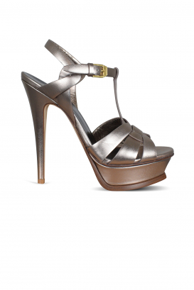 Tribute Saint Laurent sandals in copper-colored metallic leather.