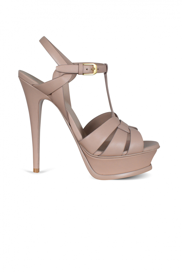 Tribute sandals in nude smooth leather