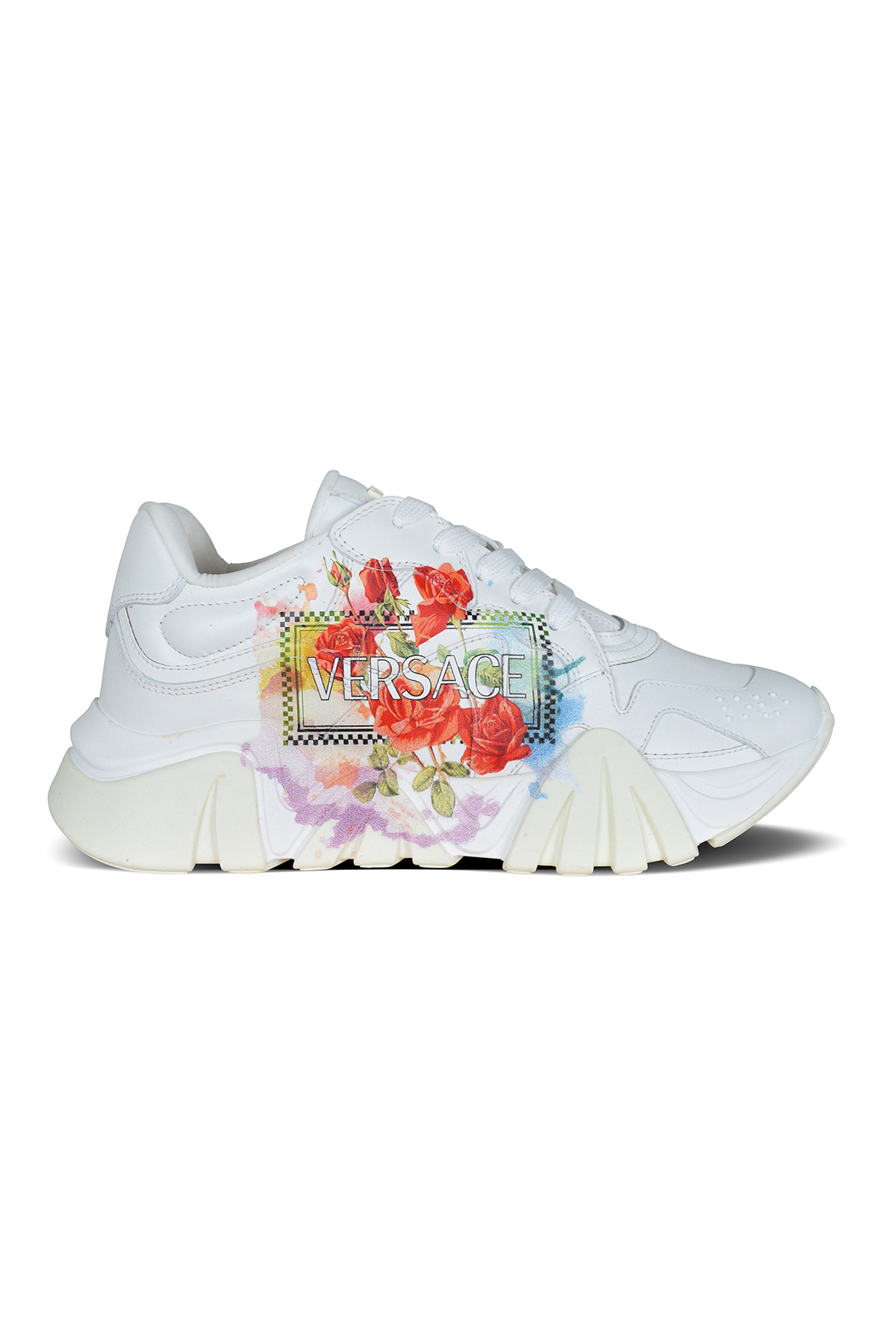 Versace Squalo sneakers in white leather.