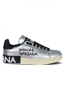 Dolce & Gabbana sneakers in silver leather.
