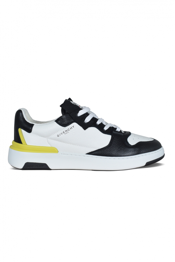 Givenchy wing sneakers in white and black grained leather.
