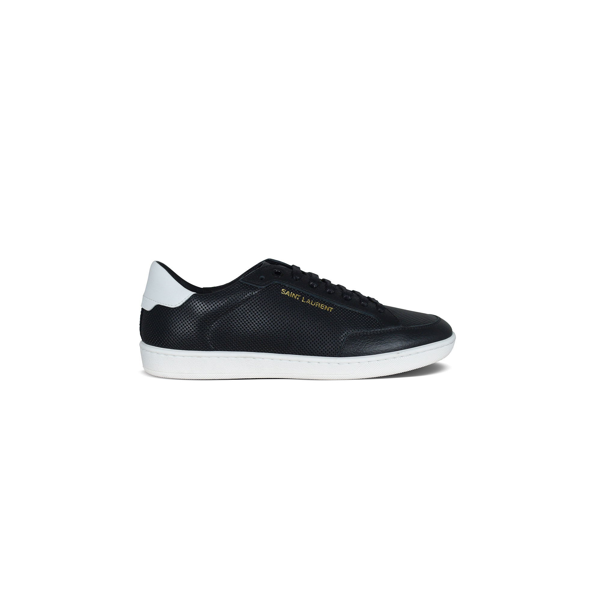 Saint Laurent Court Classic SL/06 sneakers in black perforated leather.