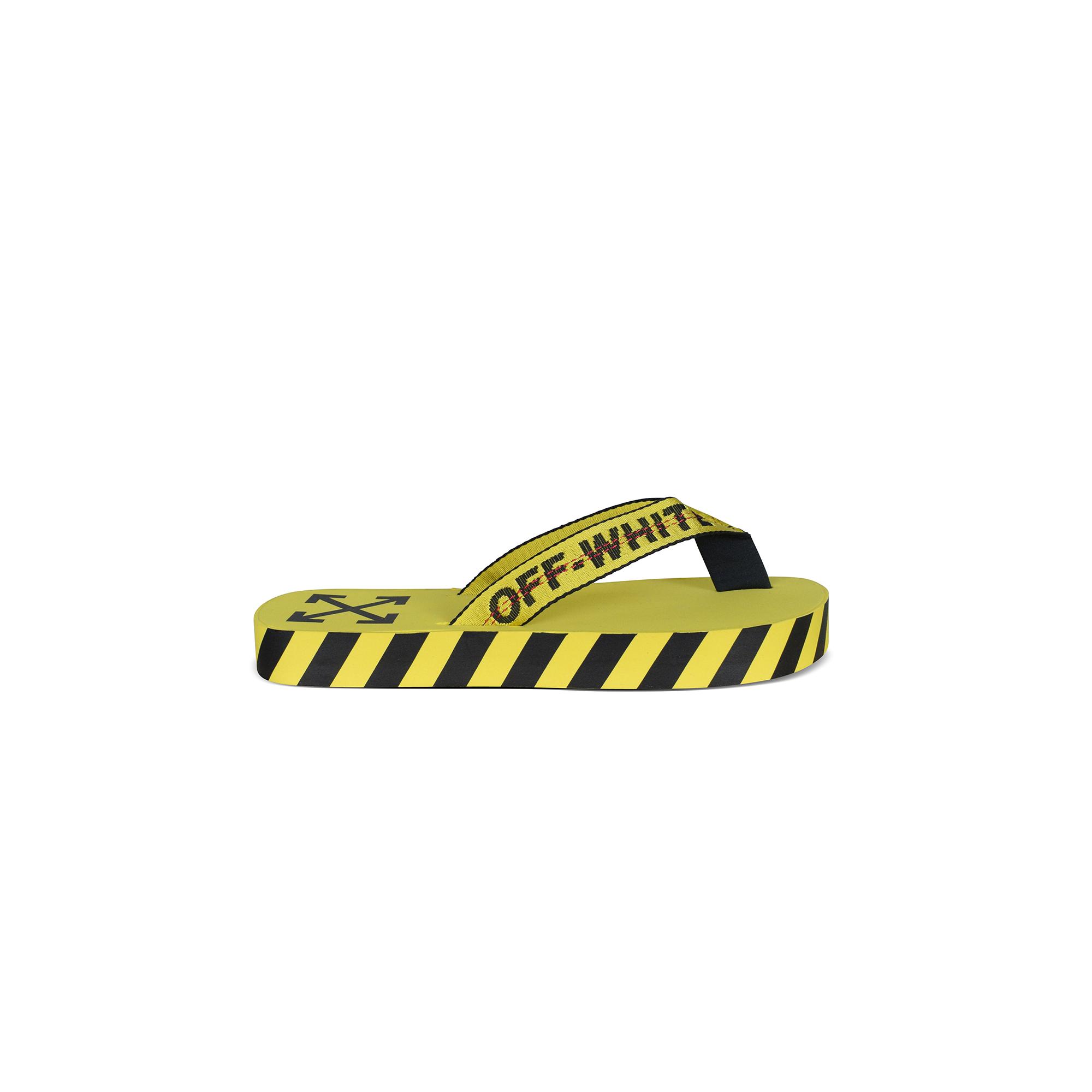 Yellow Off-White Industrial flip flops.