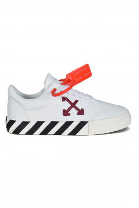 Low Vulcanized Off-White sneakers in white canvas.