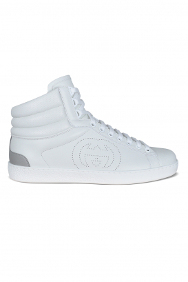 Ace Gucci high top sneakers in white leather.
