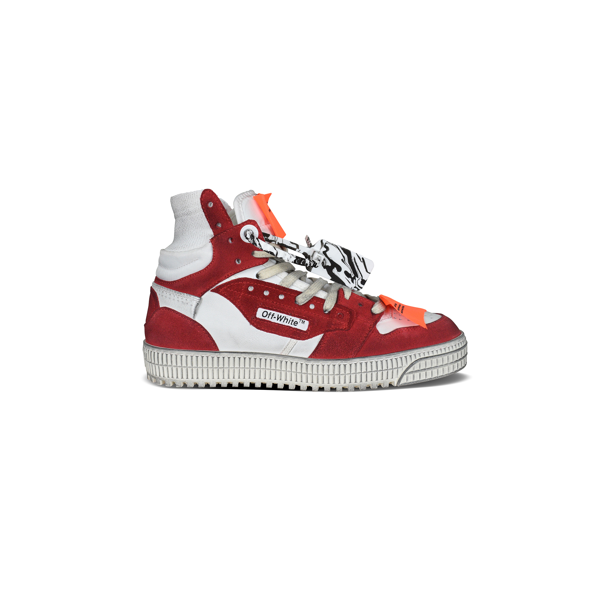 Off Court sneakers in red and white leather.