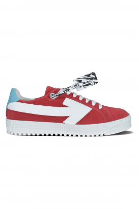 Arrow Off-White sneakers in red suede and white laces.