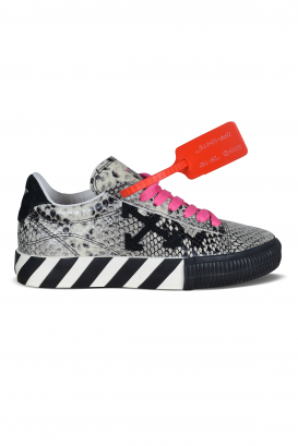 Low Vulcanized Off-White snake effect sneakers with pink laces.