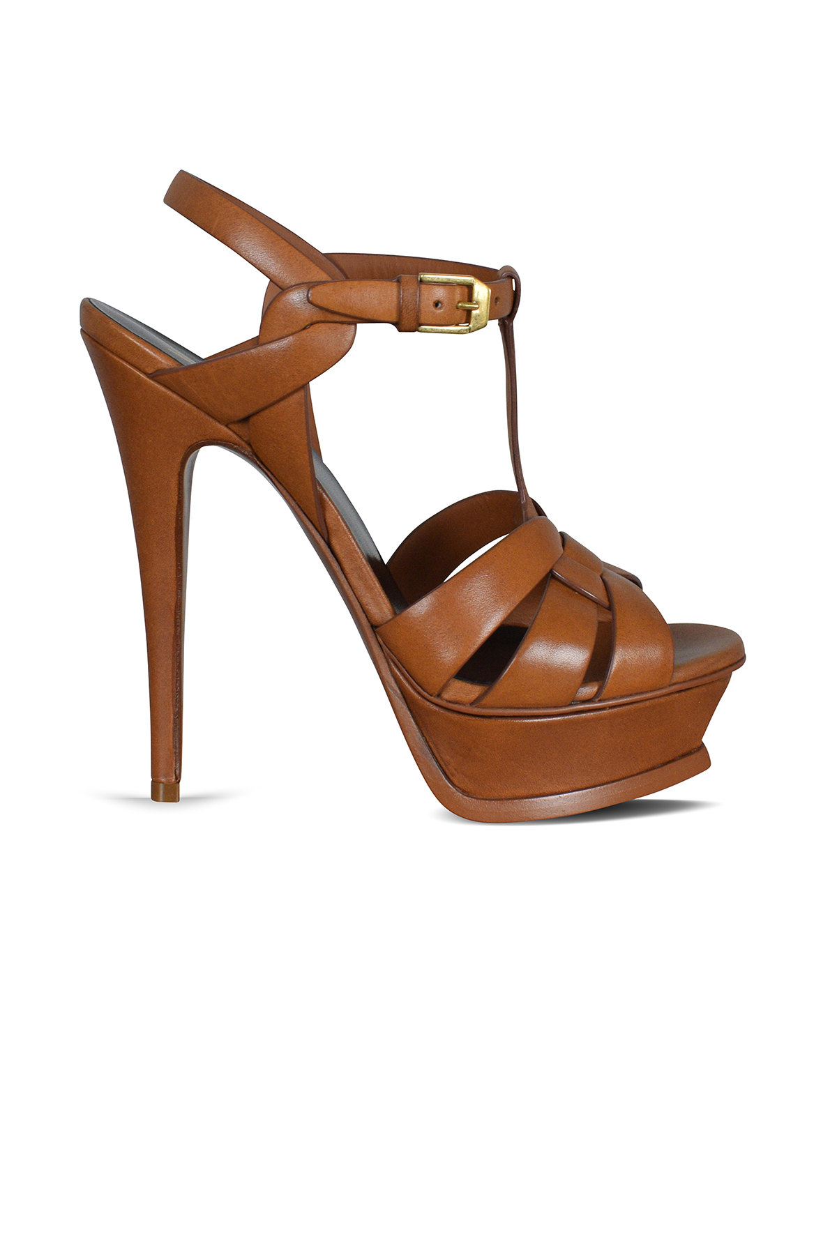 Tribute Saint Laurent sandals in gold leather.