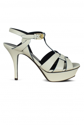 Tribute Saint Laurent sandals in white leather with black finishes.