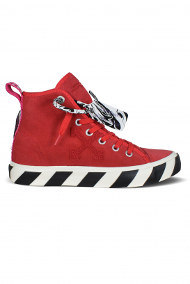 Vulcanized mid top sneakers in red cotton.