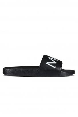 Moncler black slides.