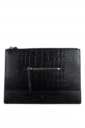 Givenchy pouch in black crocodile-stamped leather.