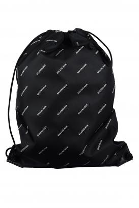Balenciaga black backpack with drawstrings.