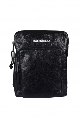 Balenciaga Explorer pouch in black crackled-effect leather.