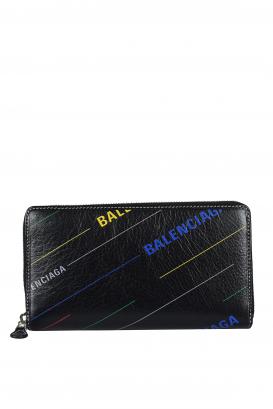 Balenciaga wallet in black leather.