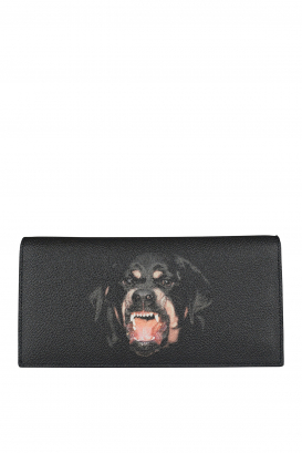 Givenchy wallet in black coated canvas with Rottweiler on the front.