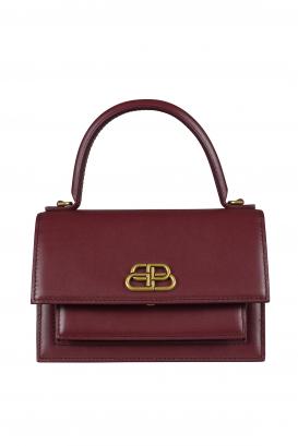 Sharp XS Balenciaga handbag in bordeaux leather.