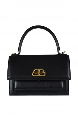 Sharp XS Balenciaga handbag in black leather.